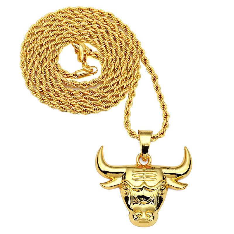 Мода Хип Хоп 18 К Желтого Золота гальваническим Быков Ожерелье Для Мужчин Длинные
