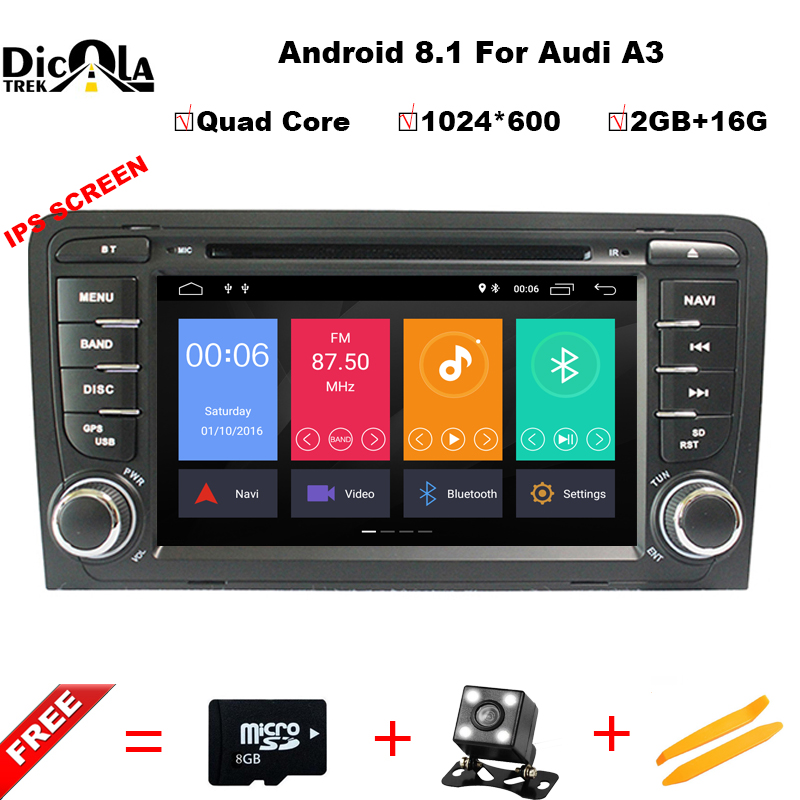 IPS HD 2 Din Car Multimedia Player GPS Android 8.1 DVD Automotivo For Audi A3 8P/A3 8P1 3-door Hatchback/S3 8P/RS3 Sportback hd a3