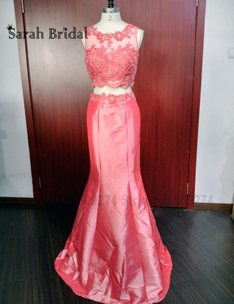 Coral Satin 2 Piece Prom Dress 2016 100% Photo Lace Mermaid Evening ...