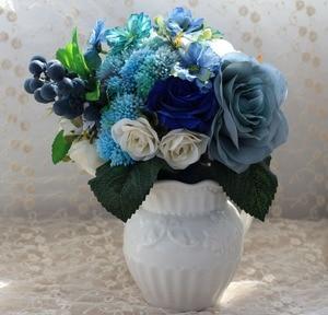Image 4 - Buquê artificial de casamento, noiva azul, acessórios de noiva, flores de seda bonitas para noiva, 1 peça, frete grátis