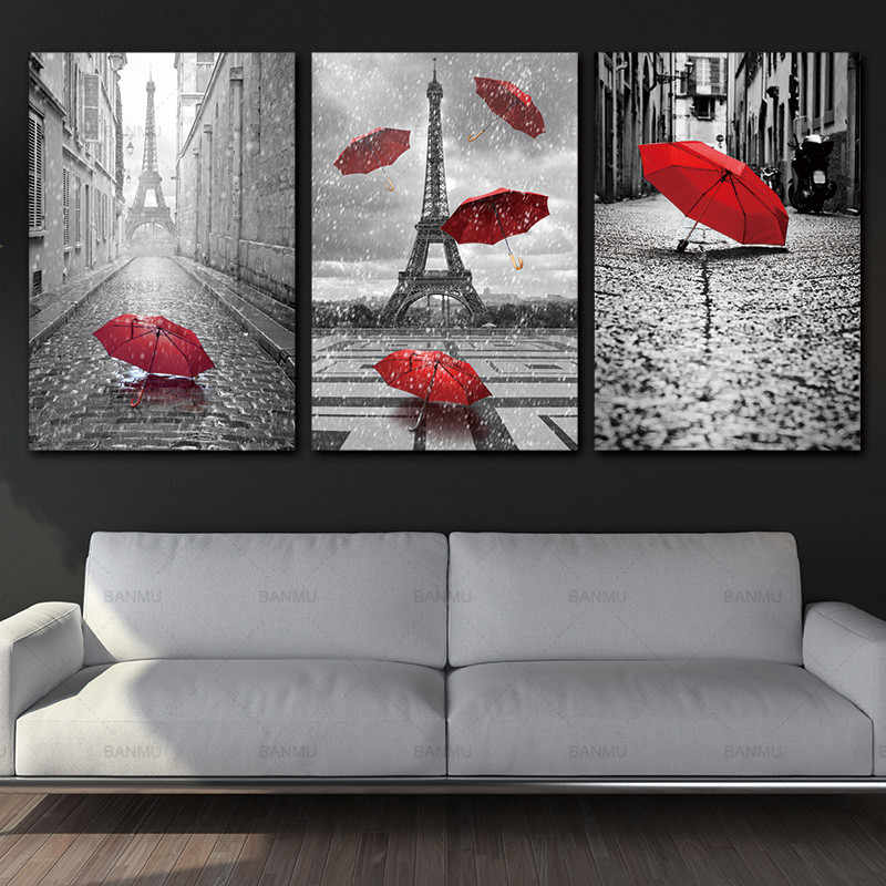 canvas Painting Wall Art Black and White Eiffel Tower with Red Unbrella Street Painting Decoration Picture Artwork Prints Canvas
