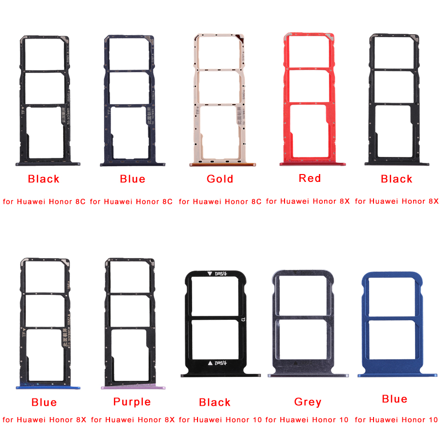 SIM Card Tray + Micro SD Card Tray For Huawei Honor 8C/8X /10  Repair Parts