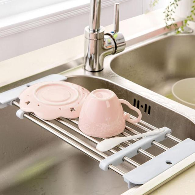 Brilliant Us 7 49 26 Off 1Pc Drain Rack Retractable Board Kitchen Sink Shelf Stainless Steel Multifunction Dish Drying Rack Folding Wash Drainer Tray In Download Free Architecture Designs Philgrimeyleaguecom