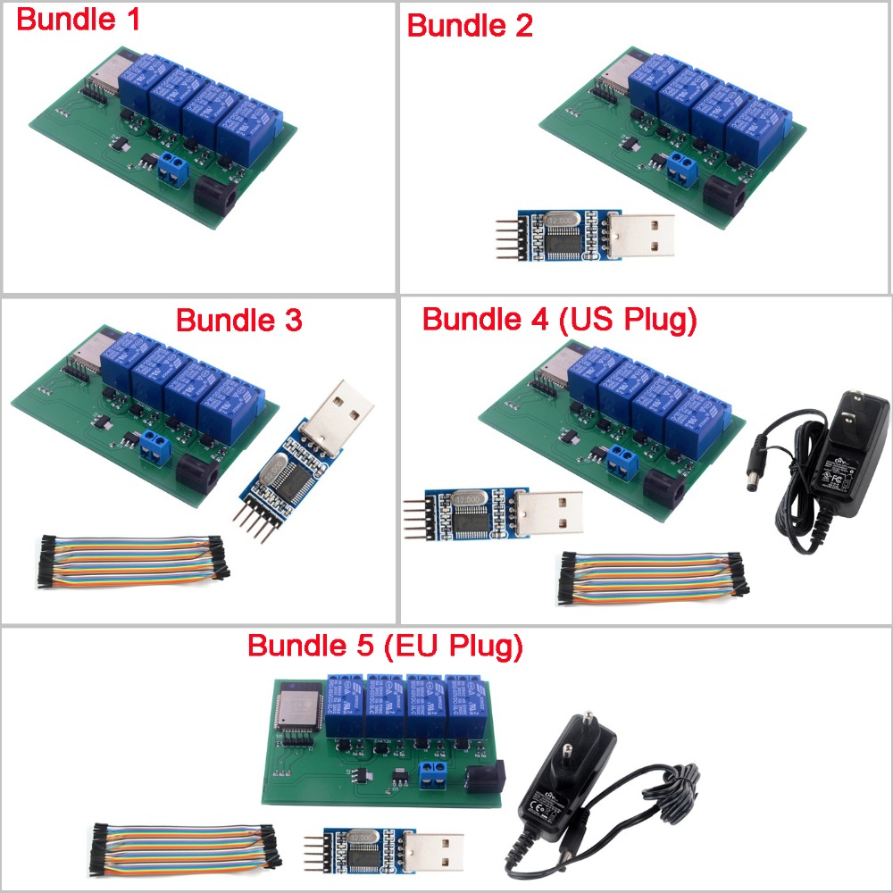 RCmall ESP32S 4 Channel Wifi Bluetooth Relay Module/USB To TTL /Female To Female Cable/DC6V 0.6A 600mA Power Adapter EU/US Plug