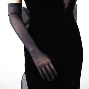 Image 5 - Черные шелковые перчатки 52 см сверхдлинные секционные высокоэластичные кружевные сетчатые черные вечерние платья для невесты WWS04