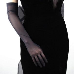 Image 5 - Zwarte Zijde Handschoenen 52 Cm Extra Lange Sectie Hoge Elastische Kant Mesh Garen Zwarte Avond Vestido De Noche Bruid Trouwen touch WWS04