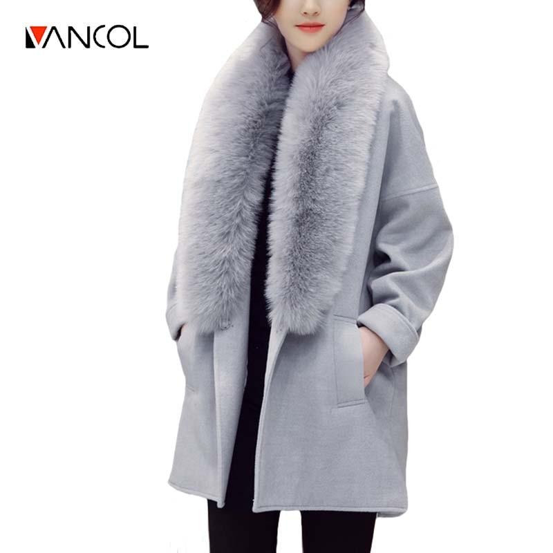 Vancol 2017 Winter Coat Women Slim Long Woolen Jacket Faux Fur Collar Autumn Grey Beige HighQuality Female Woolen Coat for Women