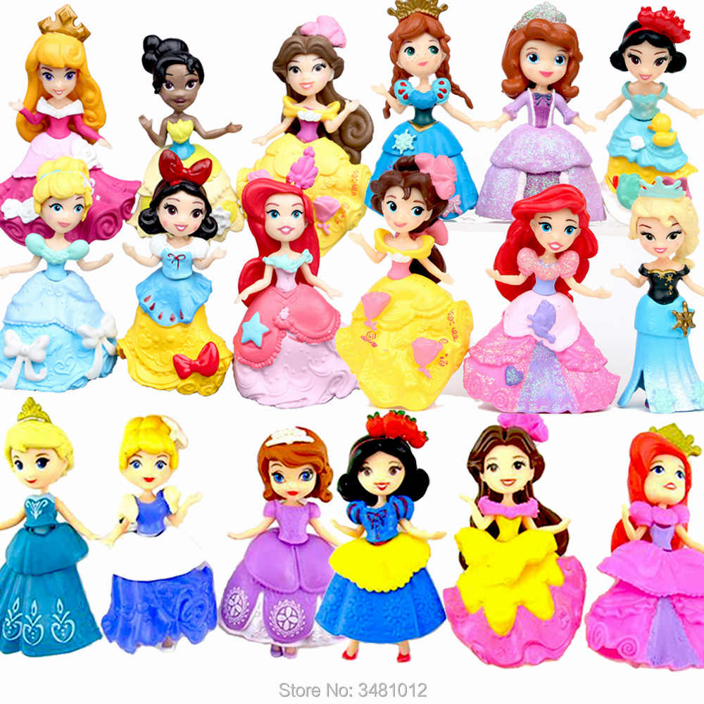 8cm Elsa Sofia Anna Cinderella Sleeping Beauty Tiana Dolls PVC Action Figures Princess Figurines Kids Toys for Girls Children