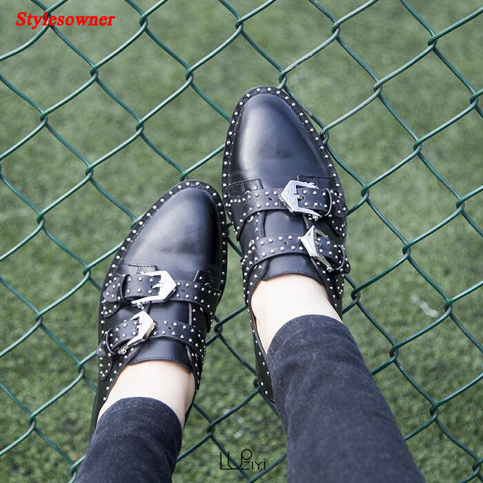 Stylesowner Top Quality Leather Flat Shoes Woman Pointed Toe Rivet Silver Belt buckle British STyle Bullock Punk Casual Shoes 2018 spring street flat genuine leather rivet women shoes high quality punk style hip hop round toe buckle high top sneakers
