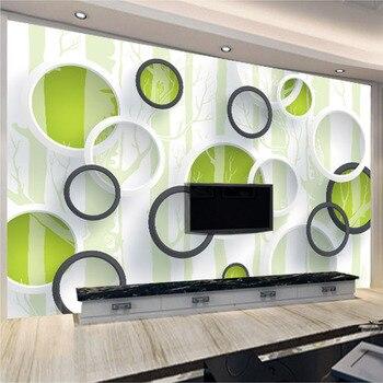 цена на Custom 3D Mural Wallpaper Modern European Living Room TV Background Non-woven Wallpaper Wall Covering Murals Geometric Circles