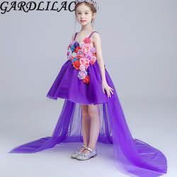 Тюль Фиолетовый Белый цветок длинным шлейфом платье с цветочным узором для девочек для первого причастия платья для девочек свадебное