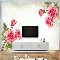 사용자 정의 벽화 3D 핑크 장미 벽지 3D 높은 품질 로맨틱 벽 취재 거실 홈 장식