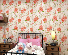 Beibehang Nordic Garden Bird Wallpaper Warm Bedroom Background Wall Nonwoven Papel De Parede Blue Flowers