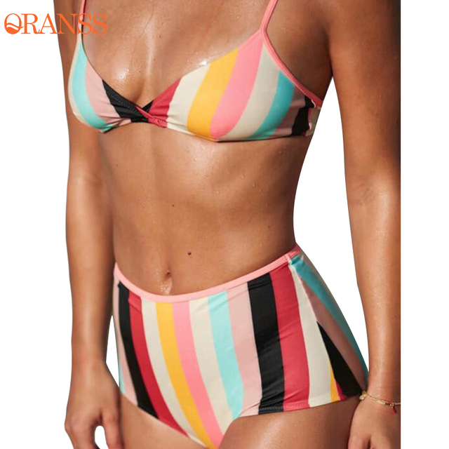 e5fde60b0a16a 2018 New Sexy Bikini Set Women Summer High Waist Bathing Suit Colorful  Striped Halter Bandage Push Up Swimwear Summer Beach Wear