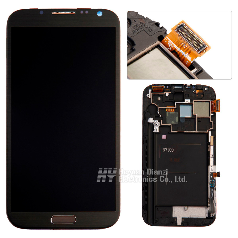 100 original LCD Display Touch Screen Digitizer Assembly with Frame For Samsung Galaxy Note2 N7105 N7100