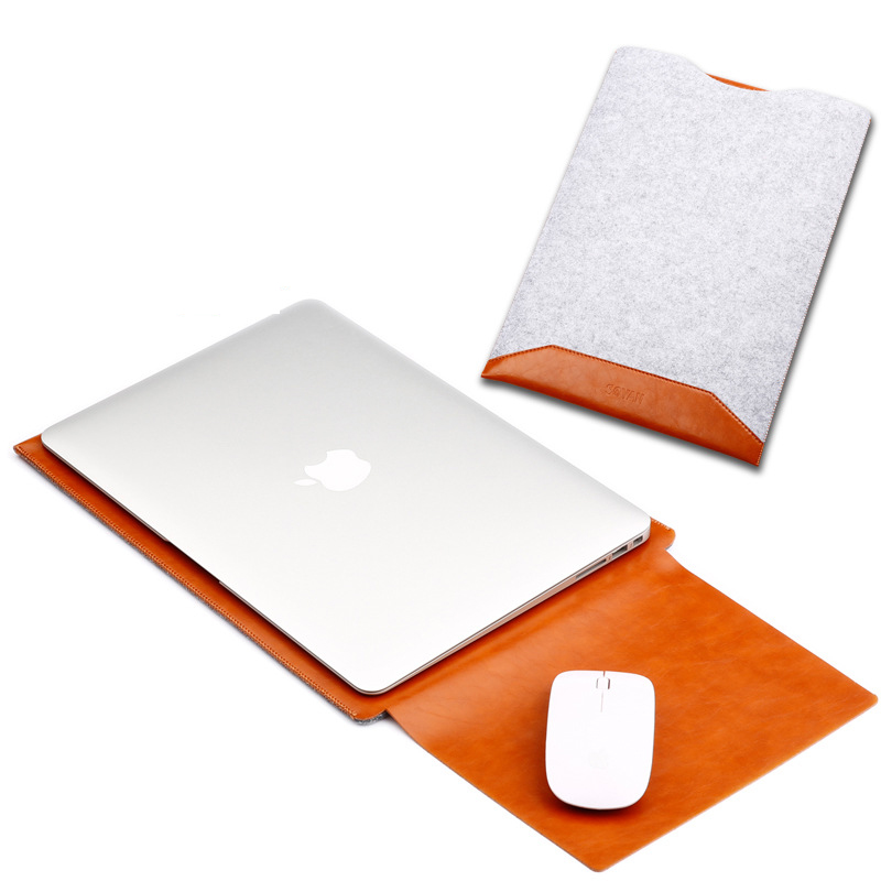 Wool Felt For Macbook Pro 13 15 2017 2018 Laptop Cover Wool Felt Pouch Bag A1989 A1990 PU For Macbook Pro 13 A1708 A1989 Sleeve