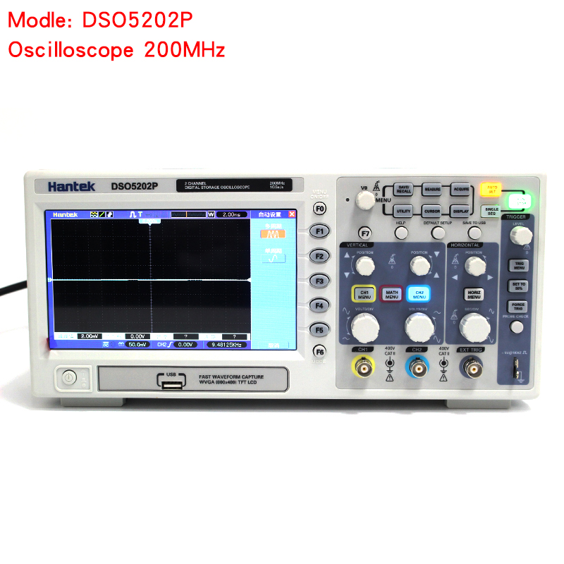 Osciloscopio Hantek DSO5202P <font><b>Digital</b></font> <font><b>Oscilloscope</b></font> USB <font><b>200MHz</b></font> bandwidth 2 Channels 1GSs PC Storage LCD Record length up to 24K image
