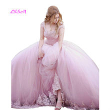 403150c3586 Принцесса розовый бальное платье Тюль бальные платья 2019 кепки рукава  блёстки Длина бисера корсет Назад сладкий