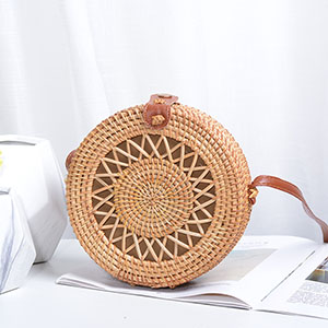 Vintage Handmade Women Rattan Bag Woven Bow Shoulder Bags Beach Straw Bag Messengers B161