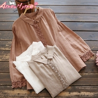 2019 Spring Autumn Women Shirt Mori Girl Vintage Lace Patchwork Cotton Linen Long Sleeve Casual Loose Solid Color Blouse Tops