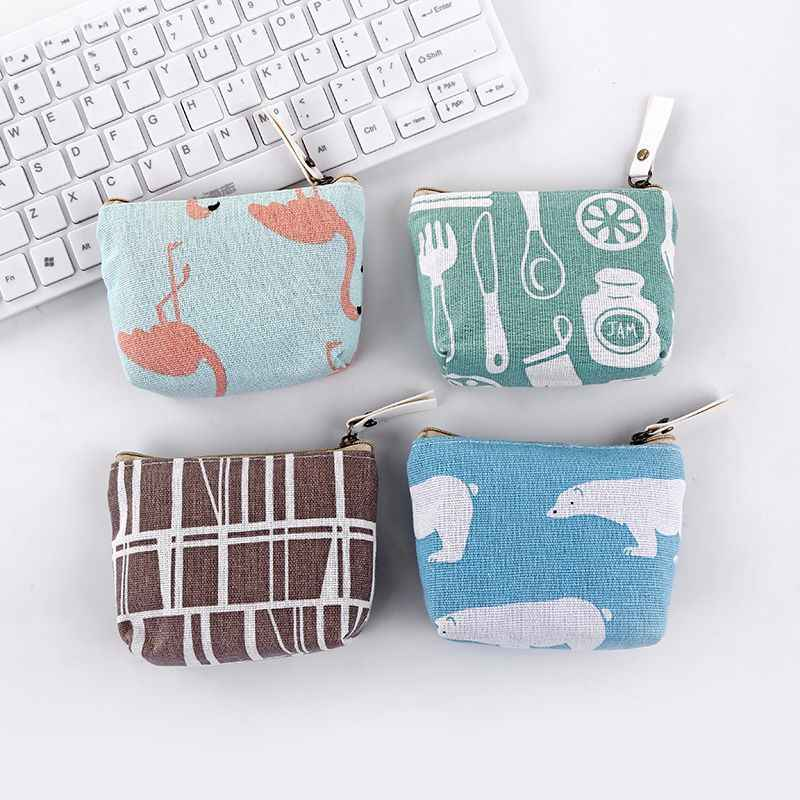 Nova versão Coreana de impressão em tecido de algodão e linho coin purse saco da moeda quadrado saco de moedas com zíper