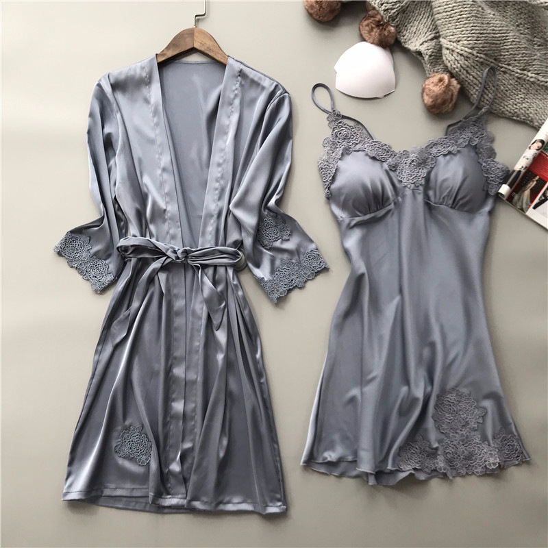 Women Robe & Gown Sets Sexy Lace Sleep Lounge Pijama Long Sleeve Ladies Nightwear Bathrobe Night Dress with Chest Pads