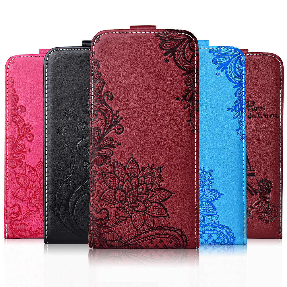For Samsung Galaxy J4 J6 Plus 2018 J3 2016 J5 J7 2017 Case TPU Flip Leather Cover 3D Flower Cute Pattern Vertical Case