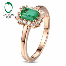 CaiMao 0.72 ct Natural Emerald 18KT/750 Rose Gold  0.21 ct Round Cut Diamond Engagement Ring Jewelry Gemstone colombian
