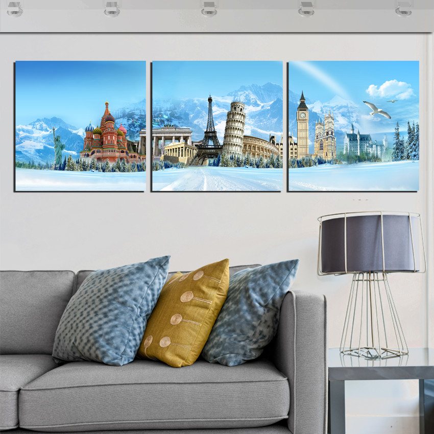 Aliexpress Com Buy Modern Home Decor Canvas Wall Art Pictures Popular World Building City Landscape Printed Oil Painting For Living Room Not Framed From