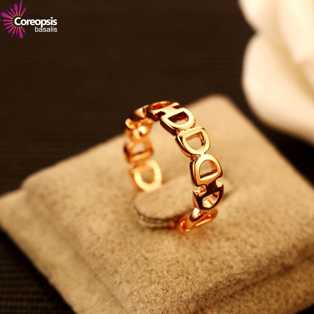 2017 NEW D Rose Gold Ring women brand fashions Classic