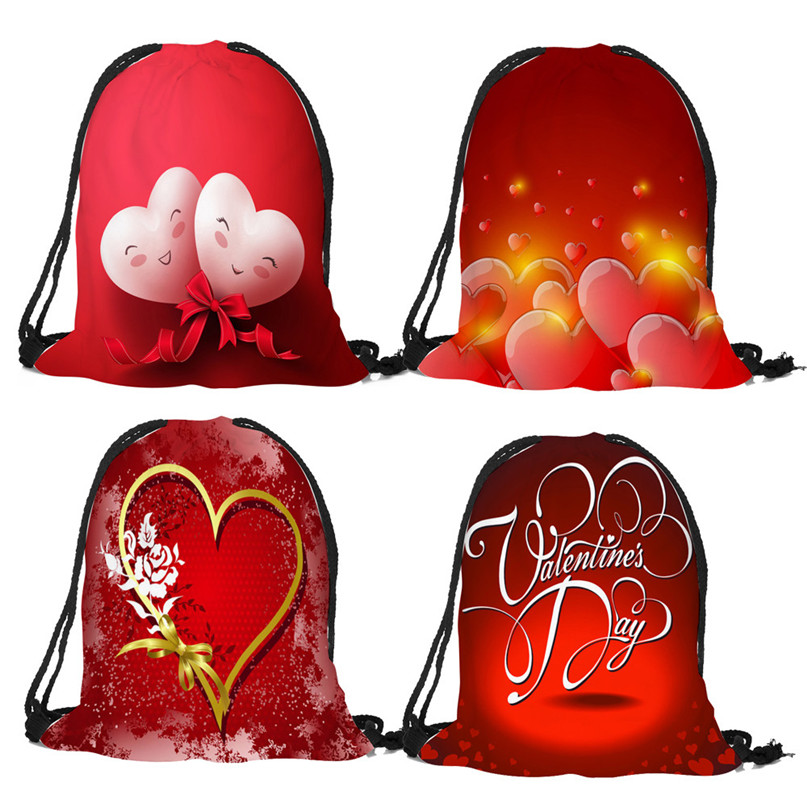 Outdoor Backpack Bags Christmas gift storage bag Valentine's Day Drawstring Bag Sack Sport Gym Travel pouch student bag #2a (2)