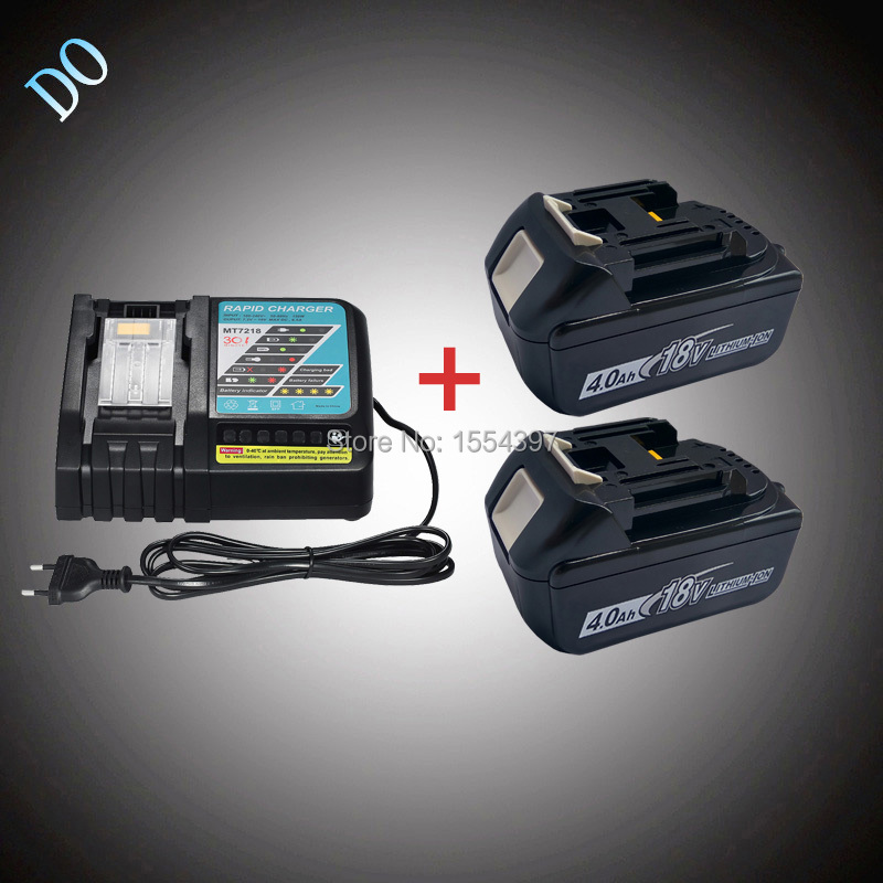 2PCS 18V 4000mAh Rechargeable Lithium Ion BL1840 with Power Tool Battery Charger Replacement for Makita 18V BL1830 BL1815 LXT 2 x panku 18v 4000mah crodless power tool lithium ion battery replacement for bosch bat609 bat618