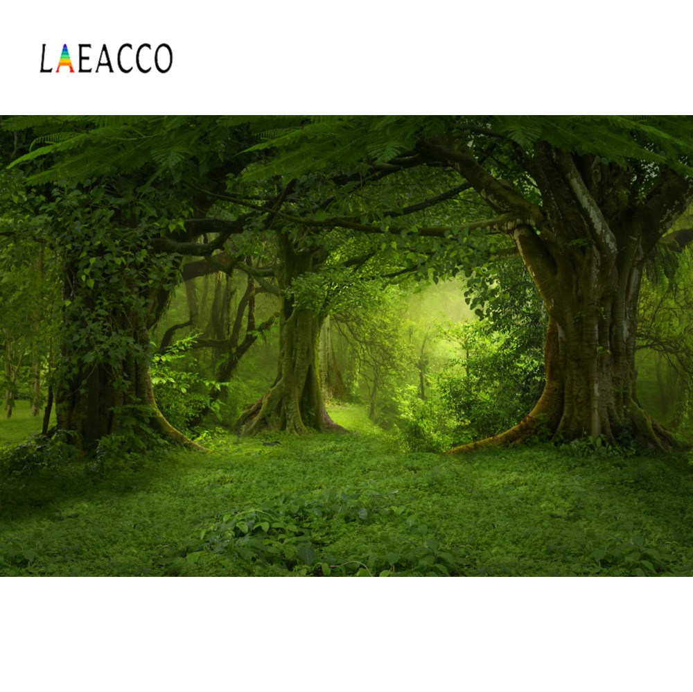 Laeacco Forest Backdrops Green Jungle Tree Grass Mystery Way Party Natural View Photographic Backdrops Photocall Photo Studio