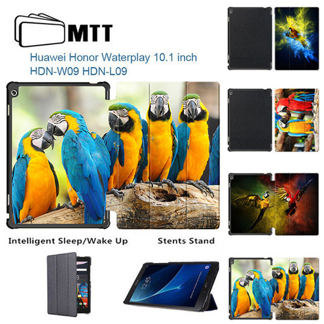 US $16 19 10% OFF|Slim Thin Print Parrot Stand PU Leather Magnetic Smart  Cover Case For Huawei Honor WaterPlay HDN W09 HDN L09 10 1