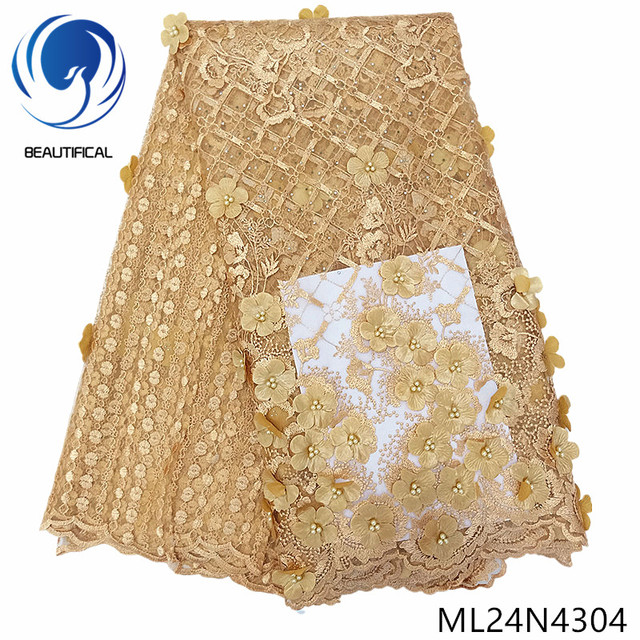 BEAUTIFICAL gold 3d lace fabric embroidery french beads tulle net lace 5 yards 2019 nigerian lace ML24N43