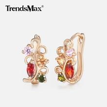 Red Pink Green Cubic Zircon Flower Earrings For Women 585 Rose Gold Earrings Woman Hot Party Wedding Jewelry Gifts KGE103