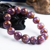 15mm Natural Genuine Purple Gold Cacoxenite Titanium Rutilated Quartz Crystal Big Round Bead Power Women Men Stretch Bracelet
