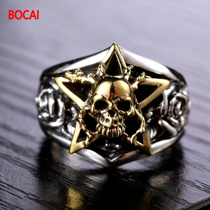 925 Silver Skull Ring punk men star ring finger ring personality free shipping dh48j ac dc 24v 50 60hz count up 8 pins 1 999900 digital counter relay