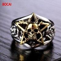 925 Silver Skull Ring punk men star ring finger ring personality