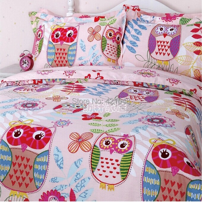 free shipping 100 cotton cartoon pink owl bedding set 3 4pcs twin full queen size duvet cover. Black Bedroom Furniture Sets. Home Design Ideas