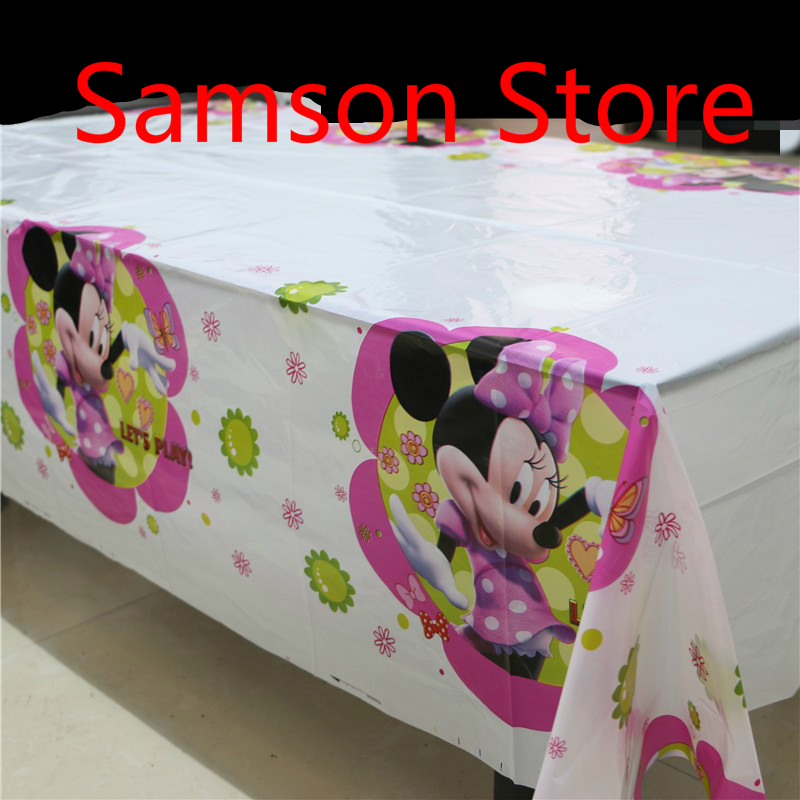 Cartoon Minnie Mouse Theme PE Table Cloth For Kids Happy Birthday Party  Decoration Tablecover Event Party Supplies 180*108cm