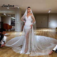 Robe Mermaid Luxury Wedding Dresses Long Train Beaded Bridal Gowns 2019 Couture Illusion Vestido De Noiva With Long Sleeves