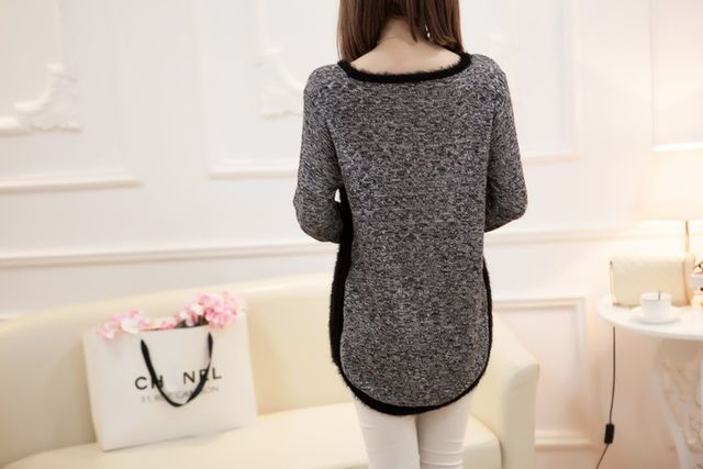 New Fashion Autumn  Brand Female Mohair Pullover Loose Sweater Knitted Long Sleeve O-neck Gray Pullovers Hot Sale Sweater 20