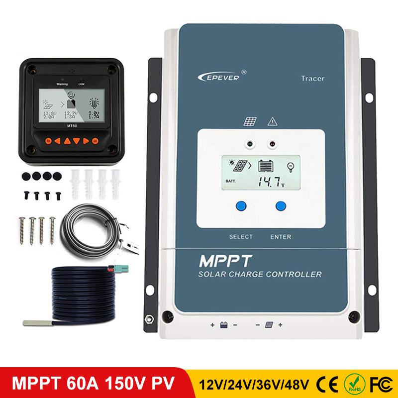 EPever 60A MPPT Solar Charge Controller 48V 36V 24V 12V Negative Ground Backlight LCD Max 150V