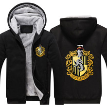Potter Gryffindor Winter Hoodie with Pocket Coat Movie Cosplay Costume Slytherin Hoodies Fleece Ravenclaw Magic School harry potter pocket watches vintage school hogwarts slytherin ravenclaw quartz pocket watch with chain necklace pendent for men