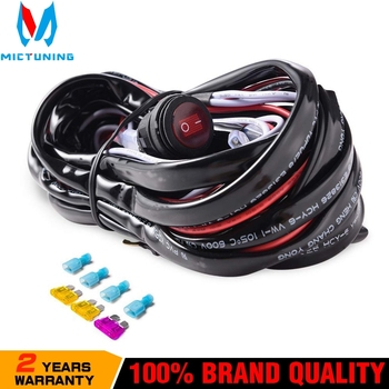 цена на MICTUNING Car LED Light Bar Wire 3M 12v 24v 40A Wiring Harness Relay Loom Cable Kit Fuse for Auto Driving Offroad Led Work Lamp