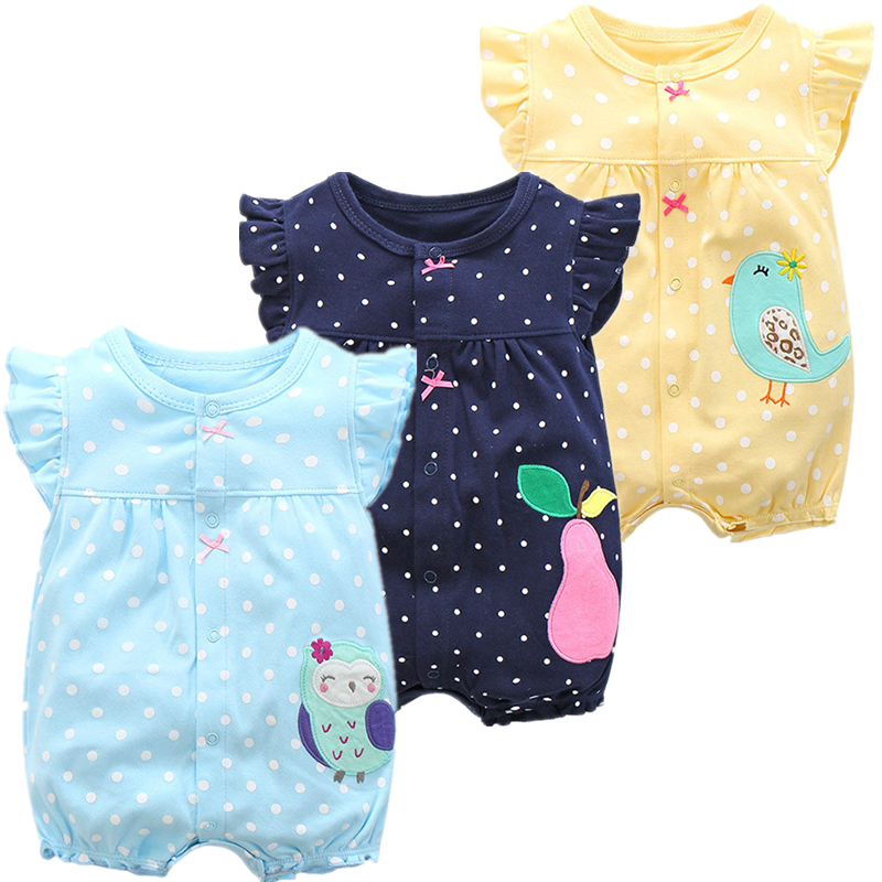 Baby Girl Romper Summer Cartoon Newborn Jumpsuit Cotton Short Romper Infant Baby Clothes One-pieces Jumpsuits Baby Clothing