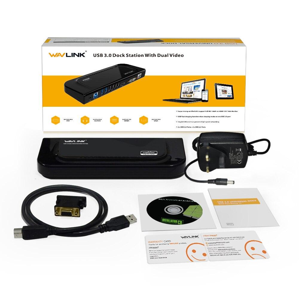 Wavlink USB 3.0 universel double affichage Station d'accueil prise en charge HDMI/DVI/VGA avec 6 Ports USB externe Gigabit Ethernet HD 1080 p - 6