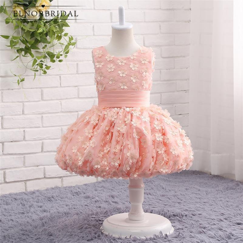 Peach   Flower     Girls     Dresses   Custom Made Vestidos De Primera Comunion 2019 Kids Evening Party Gowns Weddings Pageant   Dress