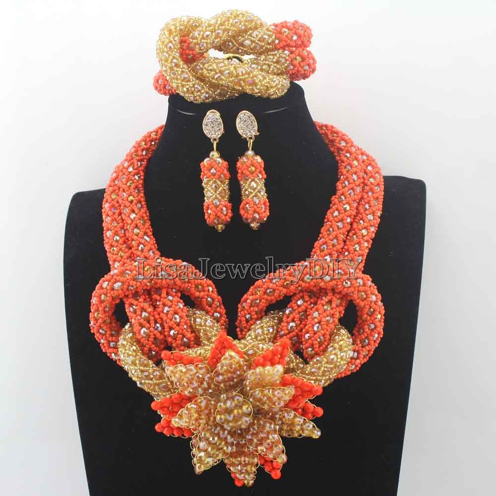 Fashion Nigerian Crystal Beads Necklace Jewelry Set Handmade Orange African Style Wedding Jewelry Set Free Shipping HD8430